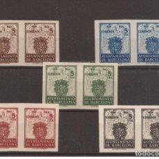 Francobolli: 1942 ESCUDO AYUNTAMIENTO BARCELONA EDIFIL 55S/59S** VC 136,00€ PAREJAS LUJO!!. Lote 253062315