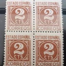 Sellos: 1940.ESTADO ESPAÑOL, CIFRAS , B/4 . **,MNH( 21-372). Lote 253224835