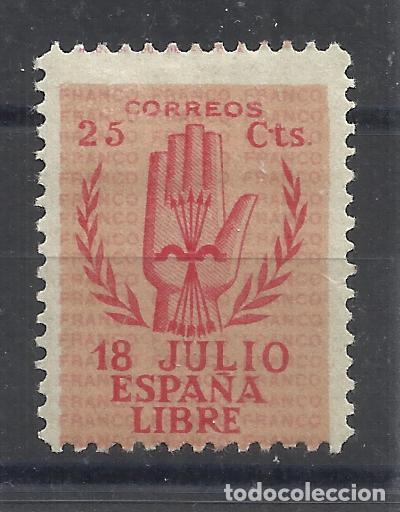 LEVANTANDO LA MANO 1938 EDIFIL 852 NUEVO* VALOR 2018 CATALOGO 8.20 EUROS (Sellos - España - Estado Español - De 1.936 a 1.949 - Nuevos)