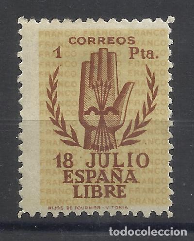 LEVANTANDO LA MANO 1938 EDIFIL 854 NUEVO* VALOR 2018 CATALOGO 165.- EUROS (Sellos - España - Estado Español - De 1.936 a 1.949 - Nuevos)