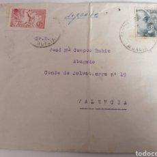 Sellos: MURCIA, CARTA URGENTE A VALENCIA, CON PASO POR CARTAGENA. 1946. Lote 253953360