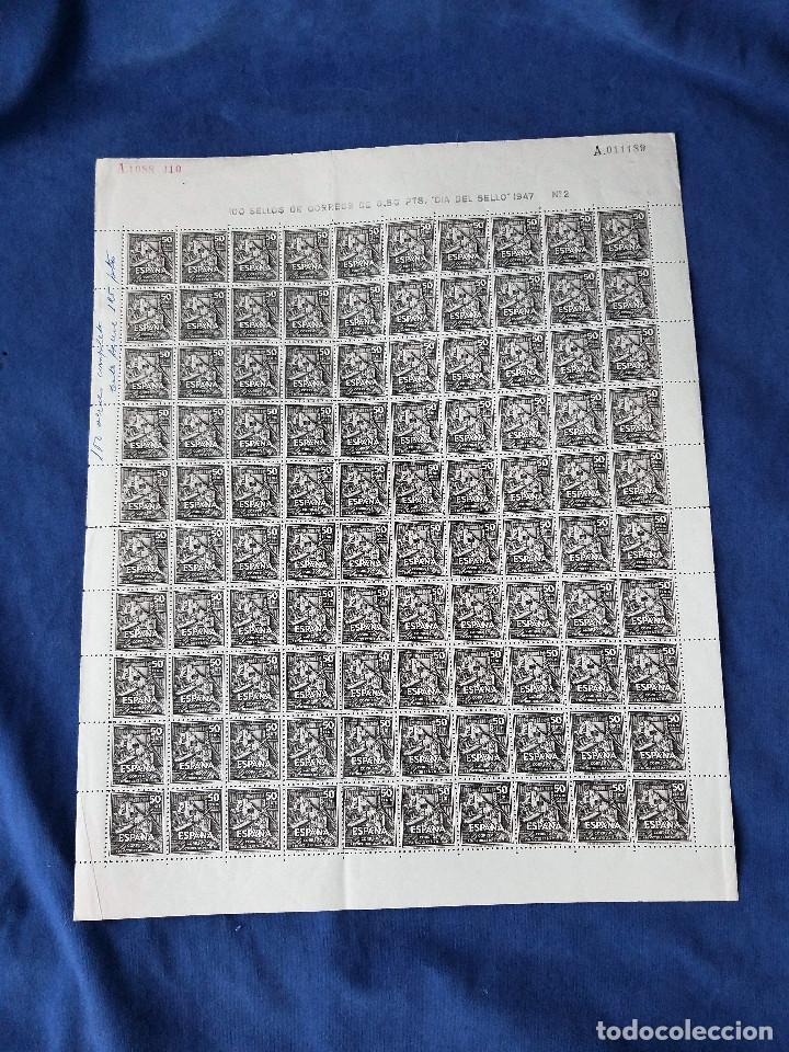 ESPAÑA EDIFIL 1012 LA BIBLIOTECA DEL QUIJOTE AÑO 1947 .HOJA PLIEGO 100 SELLOS.MNH*** CATALOGO 65€ (Sellos - España - Estado Español - De 1.936 a 1.949 - Nuevos)