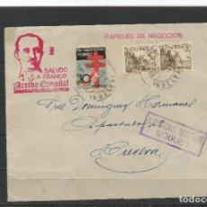 Sellos: FRONTAL CENSURA MILITAR MOGUER 1937. PRO TUBERCULOSOS POBRES. SALUDO A FRANCO. ARRIBA ESPAÑA.. Lote 254342295