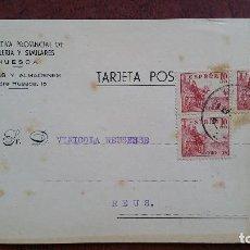 Sellos: TARJETA POSTAL COOPERATIVA- HOSTELERÍA Y SIMILARES. HUESCA - REUS. 1953.. Lote 254502645