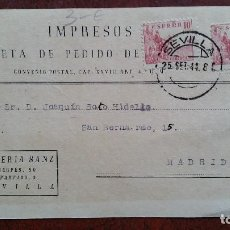 Sellos: TARJETA POSTAL. LIBRERÍA SANZ. SEVILLA - MADRID. 1944. Lote 254507745