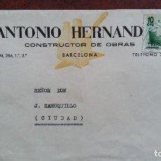 Sellos: TARJETA POSTAL. ANTONIO HERNANDO. BARCLONA. INTERNO.. Lote 254509305