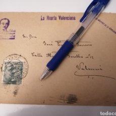 Sellos: JATIVA A VALENCIA. LA HUERTA VALENCIANA. VICENTE DOMINGUEZ TUDELA. PLZ. MARTIRES DE LA REVOLUCION. Lote 254823080