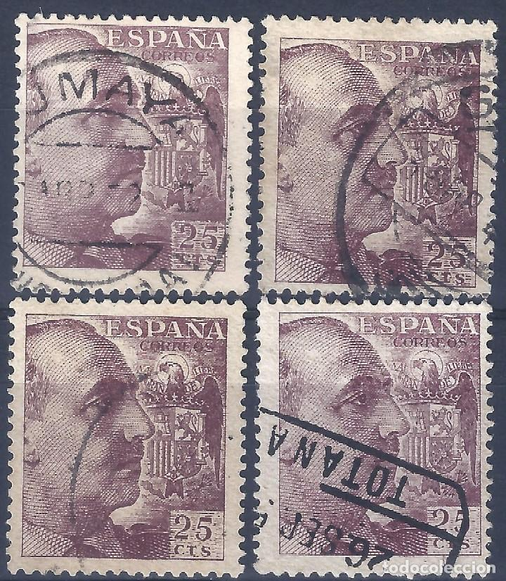 EDIFIL 1048A GENERAL FRANCO 1950 (LOTE DE 4 SELLOS) VALOR CATÁLOGO: 428 €. (Sellos - España - Estado Español - De 1.936 a 1.949 - Usados)