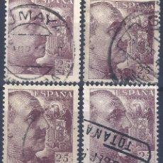 Sellos: EDIFIL 1048A GENERAL FRANCO 1950 (LOTE DE 4 SELLOS) VALOR CATÁLOGO: 428 €.. Lote 255530595