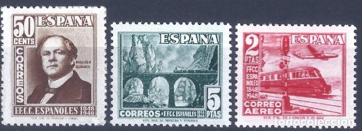 EDIFIL 1037-1039 CENTENARIO DEL FERROCARRIL 1948 (SERIE COMPLETA). MNH ** (Sellos - España - Estado Español - De 1.936 a 1.949 - Nuevos)