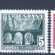Sellos: EDIFIL 1037-1039 CENTENARIO DEL FERROCARRIL 1948 (SERIE COMPLETA). MNH **. Lote 255595735