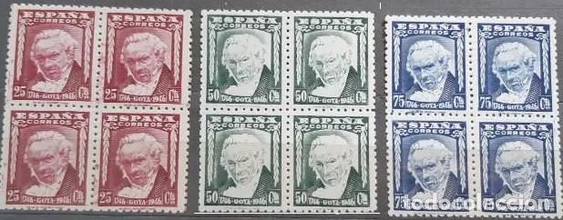 EDIFIL 1005 1007 EN BLOQUE DE 4 MNH SELLOS ESPAÑA NUEVOS ** 1945 II CENTENARIO NACIMIENTO GOYA (Sellos - España - Estado Español - De 1.936 a 1.949 - Nuevos)