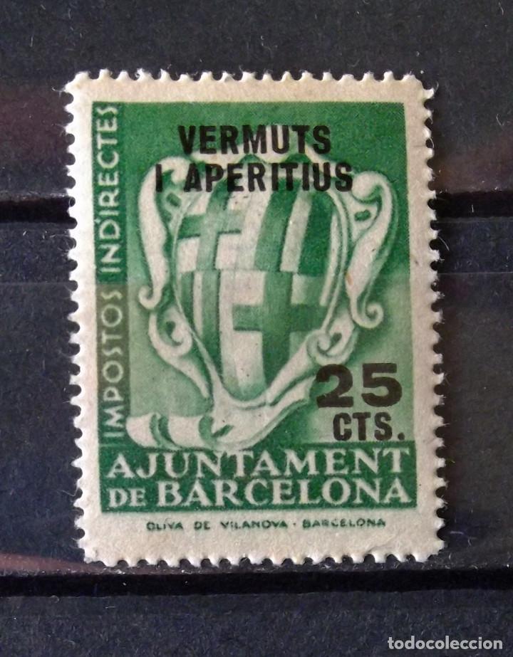 VIÑETA, VERMUTS, 25 CTS., BARCELONA, NUEVA, SIN CH. (Sellos - España - Estado Español - De 1.936 a 1.949 - Usados)