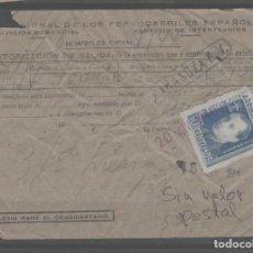 Sellos: LOTE B2-AUTORIZACION DE SALIDA FERROCARRIL VIÑETA AÑOS 40. Lote 257676365