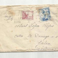 Francobolli: CIRCULADA 1943 DE REGIMIENTO INFANTERIA ALCOI ALCOY ALICANTE A XATIVA VALENCIA. Lote 259841925