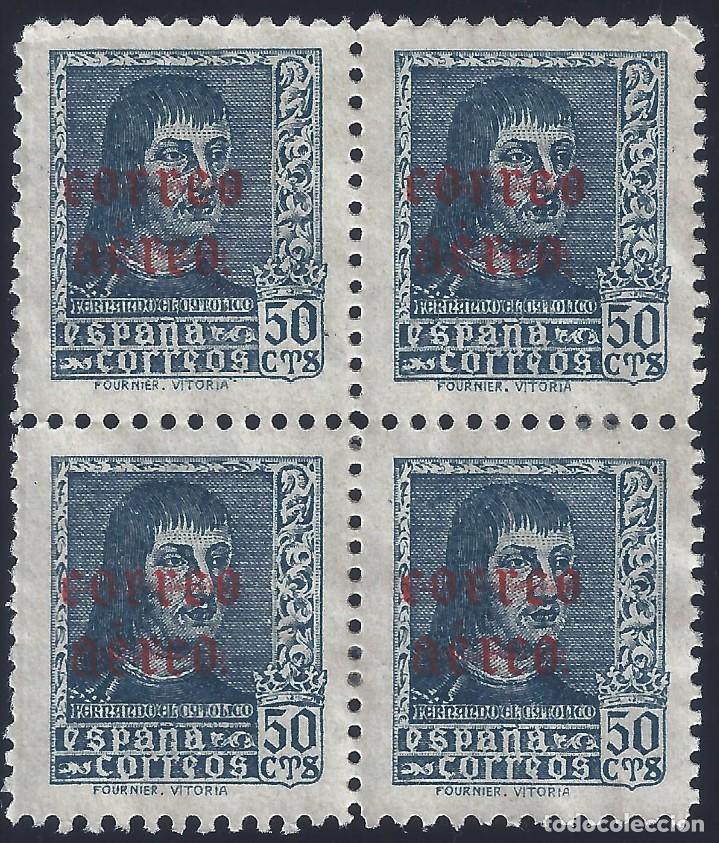 EDIFIL 845 FERNANDO EL CATÓLICO 1938 (BLOQUE DE 4). MNG. (Sellos - España - Estado Español - De 1.936 a 1.949 - Nuevos)