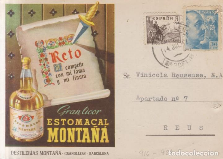 AÑO 1940 EDIFIL 916-924 SOBRE MATASELLOS GRANOLLERS. PUBLICIDAD GRAN LICOR ESTOMACAL MONTAÑA (Sellos - España - Estado Español - De 1.936 a 1.949 - Cartas)