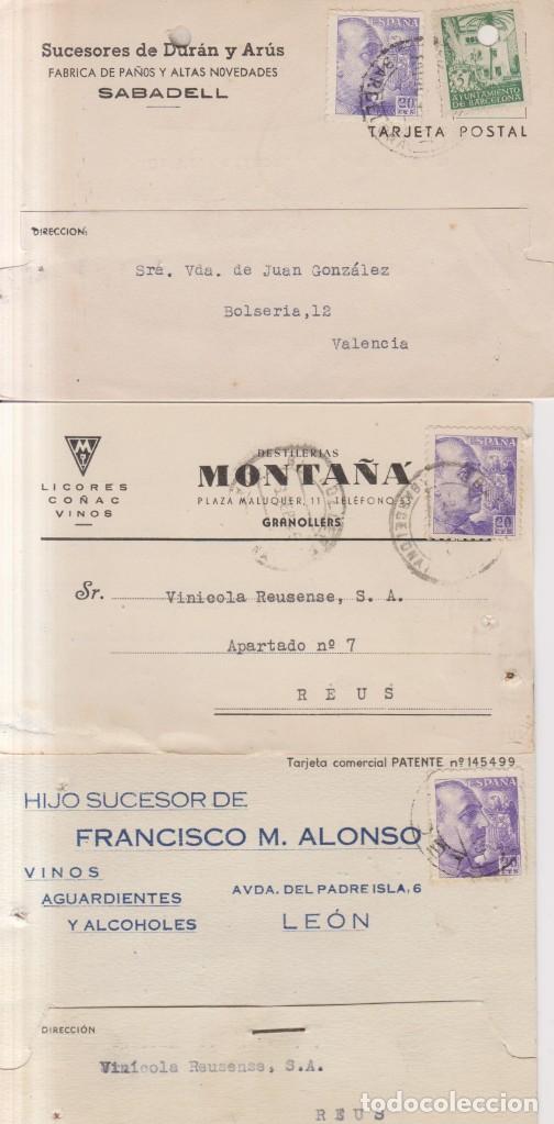 AÑO 1945 EDIFIL 922 Y 67 BARCELONA 3 TARJETAS COMECIALES DE LEON SABADELL Y GRANOLLERS (Sellos - España - Estado Español - De 1.936 a 1.949 - Cartas)
