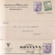 Sellos: AÑO 1945 EDIFIL 922 Y 67 BARCELONA 3 TARJETAS COMECIALES DE LEON SABADELL Y GRANOLLERS. Lote 262261210