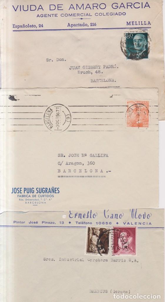 AÑO 1940-55 EDIFIL 928-1072-1152 3 SOBRES COMECIALES DE BARCELONA Y VALENCIA (Sellos - España - Estado Español - De 1.936 a 1.949 - Cartas)