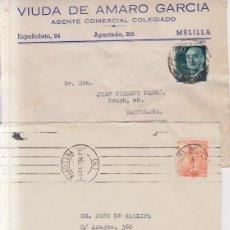 Sellos: AÑO 1940-55 EDIFIL 928-1072-1152 3 SOBRES COMECIALES DE BARCELONA Y VALENCIA. Lote 262262250