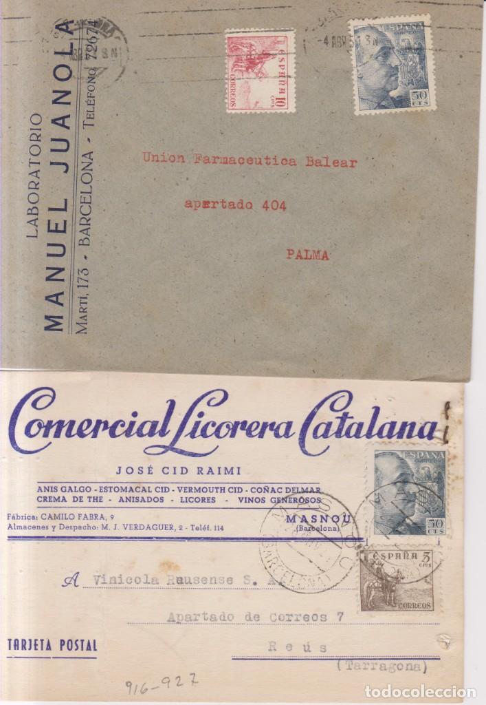 AÑO 1940EDIFIL 927-916-917 2 SOBRES COMERCIALES DE BARCELONA Y MASNOU (Sellos - España - Estado Español - De 1.936 a 1.949 - Cartas)