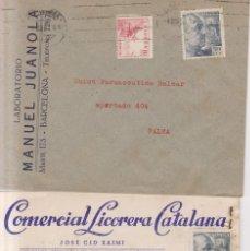Sellos: AÑO 1940EDIFIL 927-916-917 2 SOBRES COMERCIALES DE BARCELONA Y MASNOU. Lote 262263140
