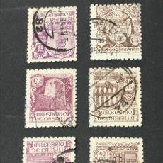 Sellos: LOTE 6 SELLOS MILENARIO DE CASTILLA, USADOS. Lote 263044615