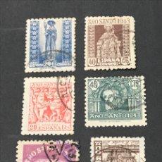 Sellos: LOTE 6 SELLOS 1944 AÑO SANTO COMPOSTELANO, USADOS.. Lote 263044725