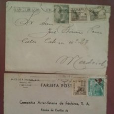 Sellos: SOBRE Y TARJETA POSTAL 1952 FRANCO CASTILLO LA MOTA. EL CID. Lote 264809084