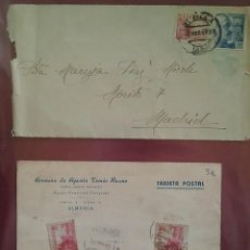 Sellos: TARJETA POSTAL Y SOBRE . EL CID 10 CTS 1943. Lote 264809334