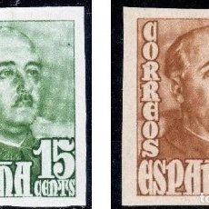 Sellos: ESPAÑA 19148/1954 GRAL. FRANCO SERIE SIN DENTAR MNH** ALT VALO (750€ EN MH*) BUSCADOS EDIF 1021/1022. Lote 265656999