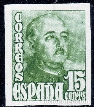 Sellos: ESPAÑA 19148/1954 GRAL. FRANCO SERIE SIN DENTAR MNH** ALT VALO (750€ EN MH*) BUSCADOS EDIF 1021/1022 - Foto 2 - 265656999
