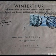 Sellos: CORREO AÉREO POR AVION BARCELONA 1943 CENSURA MILITAR FRANCO JUAN DE LA CIERVA WINTERTHUR. Lote 267206849
