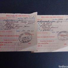 Sellos: LOTE DE 2 RESGUARDOS DE GIRO POSTAL. MATASELLOS DE TERUEL. 1941.. Lote 267321389