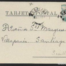 Sellos: POSTAL CIRCULADA AL PALACO DE CRISTO REY, MARQUESES VILLAPANES.-VARIEDAD DE ESCUDO Y TIPOGRAFIA,VER. Lote 267676334
