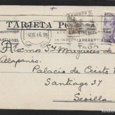 Sellos: POSTAL CIRCULADA AL PALACO DE CRISTO REY, MARQUESES VILLAPANES.-VARIEDAD DE ESCUDO Y TIPOGRAFIA,VER. Lote 267676379