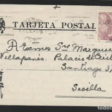 Sellos: POSTAL CIRCULADA AL PALACO DE CRISTO REY, MARQUESES VILLAPANES.-VARIEDAD DE ESCUDO Y TIPOGRAFIA,VER. Lote 267676444