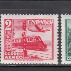 Timbres: ESPAÑA, 1948 EDIFIL Nº 1037 / 1039 /**/, CENTENARIO DEL FERROCARRIL, SIN FIJASELLOS.. Lote 269158103