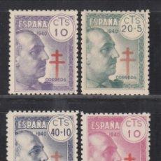 Sellos: ESPAÑA, 1940 EDIFIL Nº 936 / 939 /**/, PRO TUBERCULOSOS, SIN FIJASELLOS. Lote 269464188