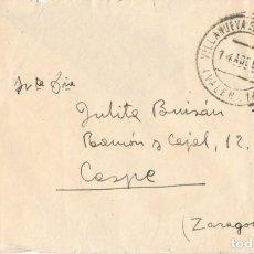 Sellos: 0923. CARTA VILLANUEVA DE CASTELLON (VALENCIA) 1946. Lote 271601433