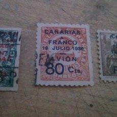 Sellos: LOTE 3 SELLOS SOBRECARGADOS CON LA LEYENDA: CANARIAS FRANCO 18 DE JULIO AVION. Lote 272049888