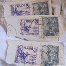Sellos: 50 SELLOS - ESPAÑA 1GENERAL FRANCO Y ESCUDO DE ESPAÑA 50 CÉNTIMOS VERDE AUXILIO A LAS VICTIMAS 1946. Lote 275100028