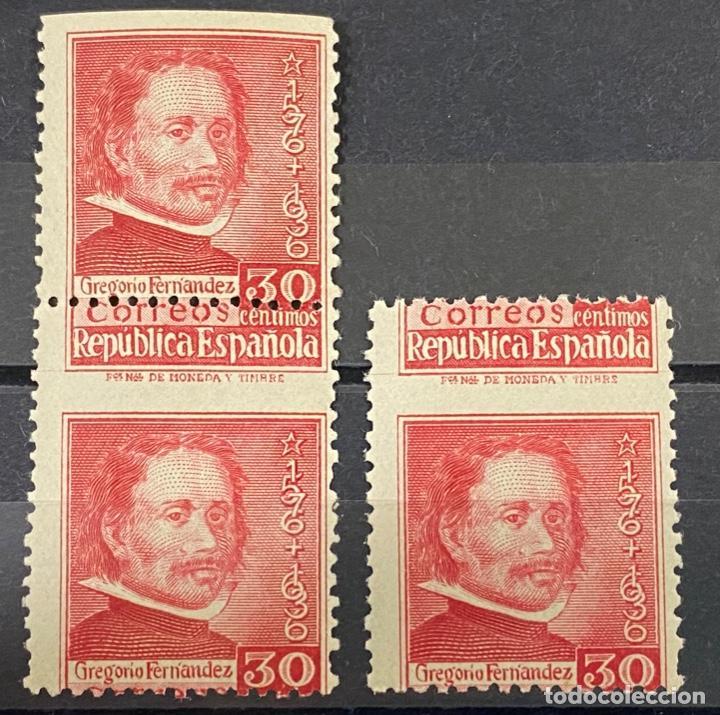 3 SELLOS DE ESPAÑA, 1937, EDIFIL 726. MUERTE GREGORIO FERNANDEZ. NUEVO. SIN FIJASELLOS. CON ERROR. (Sellos - España - Estado Español - De 1.936 a 1.949 - Nuevos)