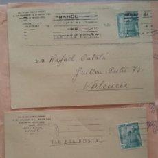 Sellos: DOS TARJETAS POSTALES FRANCO CASTILLO LA MOTA. Lote 275705223