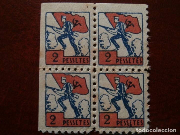 Sellos: ESPAÑA GUERRA CIVIL 1936 - VIÑETA PRO-MILICIES 2 PESSETES BLOQUE DE CUATRO - MUY RARA ASI -. - Foto 3 - 276295083