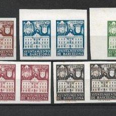Sellos: ESPAÑA BARCELONA 1942 EDIFIL 37/37 BLOQUE X 2 (*) - 7/42. Lote 277142688