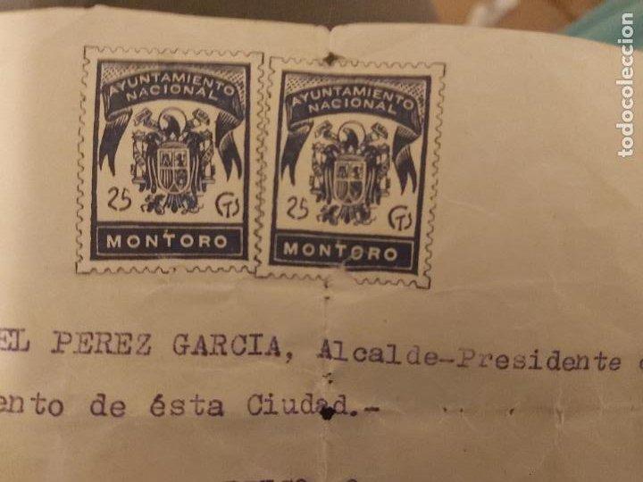 CARTA CON SELLOS AYUNTAMIENTO NACIONAL MONTORO 25 CTS (Sellos - España - Estado Español - De 1.936 a 1.949 - Usados)