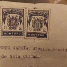 Sellos: CARTA CON SELLOS AYUNTAMIENTO NACIONAL MONTORO 25 CTS. Lote 277145118