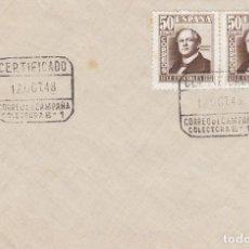 Sellos: SOBRE CON MATASELLOS CERTIFICADO DE CORREO DE CAMPAÑA 1948. Lote 277182783
